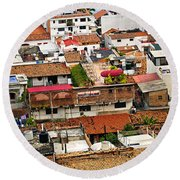 Rooftops In Puerto Vallarta Mexico Round Beach Towel