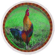 Rooster Colors Round Beach Towel