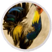 Rooster On The Prowl 2 - Vintage Tonal Round Beach Towel