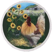 Rooster One Eyed Jack Round Beach Towel