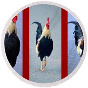 Rooster Triptych Round Beach Towel