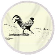 Rooster's Stride Round Beach Towel
