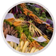 Root Vegetables At The Market Round Beach Towel