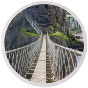 Rope Bridge At Carrick-a-rede In Northern Island Round Beach Towel