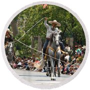 Roping Vaquero Round Beach Towel