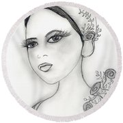 Rose Flapper Round Beach Towel