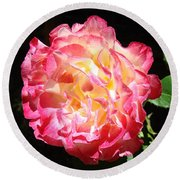 Rose Floral Fine Art Prints Pink Roses Flower Round Beach Towel