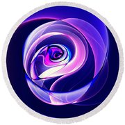 Rose Series - Violet-colored Round Beach Towel