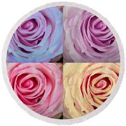 Rose Spiral Colorful Mix Round Beach Towel