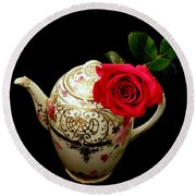 Rose With China Teapot Round Beach Towel