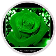 Rose With Green Coloring Added Round Beach Towel