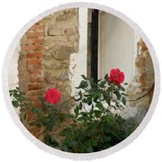 Roses And Antiquity  Round Beach Towel