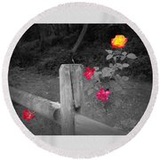 Roses And Fence Round Beach Towel