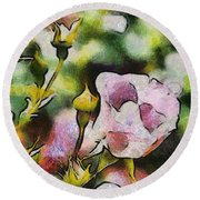 Roses At The Shrine Round Beach Towel