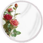 Roses Bouquet Round Beach Towel by Carlos Caetano