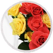 Roses Closeup Round Beach Towel
