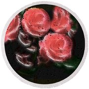 Roses In The Rain Round Beach Towel