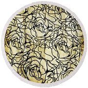 Roses Pattern Round Beach Towel by Setsiri Silapasuwanchai