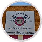 Roseville Fire Department Museum Round Beach Towel
