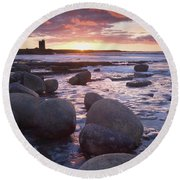 Roslee Castle, Easky, County Sligo Round Beach Towel