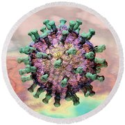 Rotavirus 2 Round Beach Towel by Russell Kightley