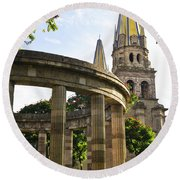 Rotunda Of Illustrious Jalisciences And Guadalajara Cathedral Round Beach Towel by Elena Elisseeva