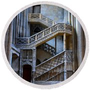 Rouen Cathedral Stairway Round Beach Towel