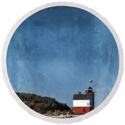 Round Island Lighthouse In Michigan Round Beach Towel