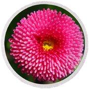 Round Pink Flower Round Beach Towel