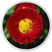 Round Red Flower Round Beach Towel