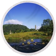 Round Tower And River In The Forest Round Beach Towel