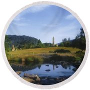 Round Tower In The Forest Glendalough Round Beach Towel