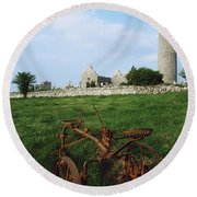 Round Tower, Kilmacduagh Near Gort, Co Round Beach Towel