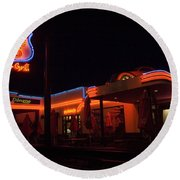 Route 66 At Night Round Beach Towel