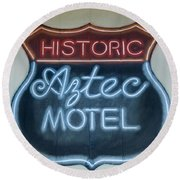 Route 66 Aztec Hotel Mural Round Beach Towel