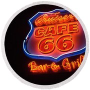 Route 66 Bar And Grill Round Beach Towel