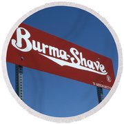 Route 66 Burma Shave Round Beach Towel