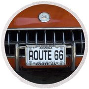 Route 66 Corvette Grill Round Beach Towel