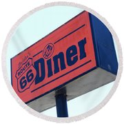 Route 66 Diner Sign Round Beach Towel