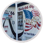 Route 66 Gift Shop Round Beach Towel