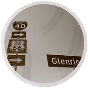 Route 66 - Glenrio Texas Round Beach Towel