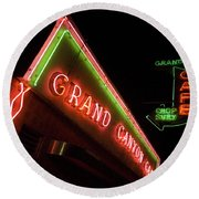 Route 66 Grand Canyon Neon Round Beach Towel