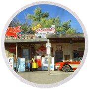Route 66 Hackberry Arizona Round Beach Towel