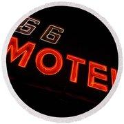 Route 66 Motel Neon Round Beach Towel