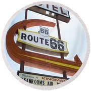 Route 66 Motel Sign 1 Round Beach Towel