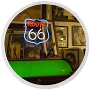 Route 66 Neon Sign 1 Round Beach Towel
