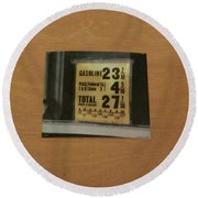 Route 66 Odell Il Gas Station Gas Prices Signage Round Beach Towel