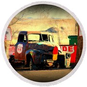 Route 66 Parking Lot Round Beach Towel