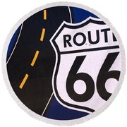 Route 66 Sign Winslow Arizona Round Beach Towel