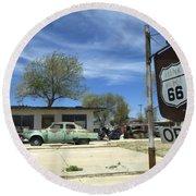 Route 66 Still Open Round Beach Towel